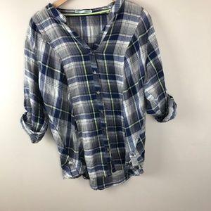 Maurices Plaid Button Down Shirt NWOT Blue & Grey